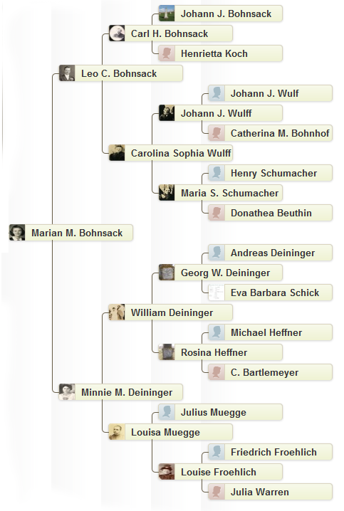 Marian Bohnsack Davis Ancestry (as of January 2013)