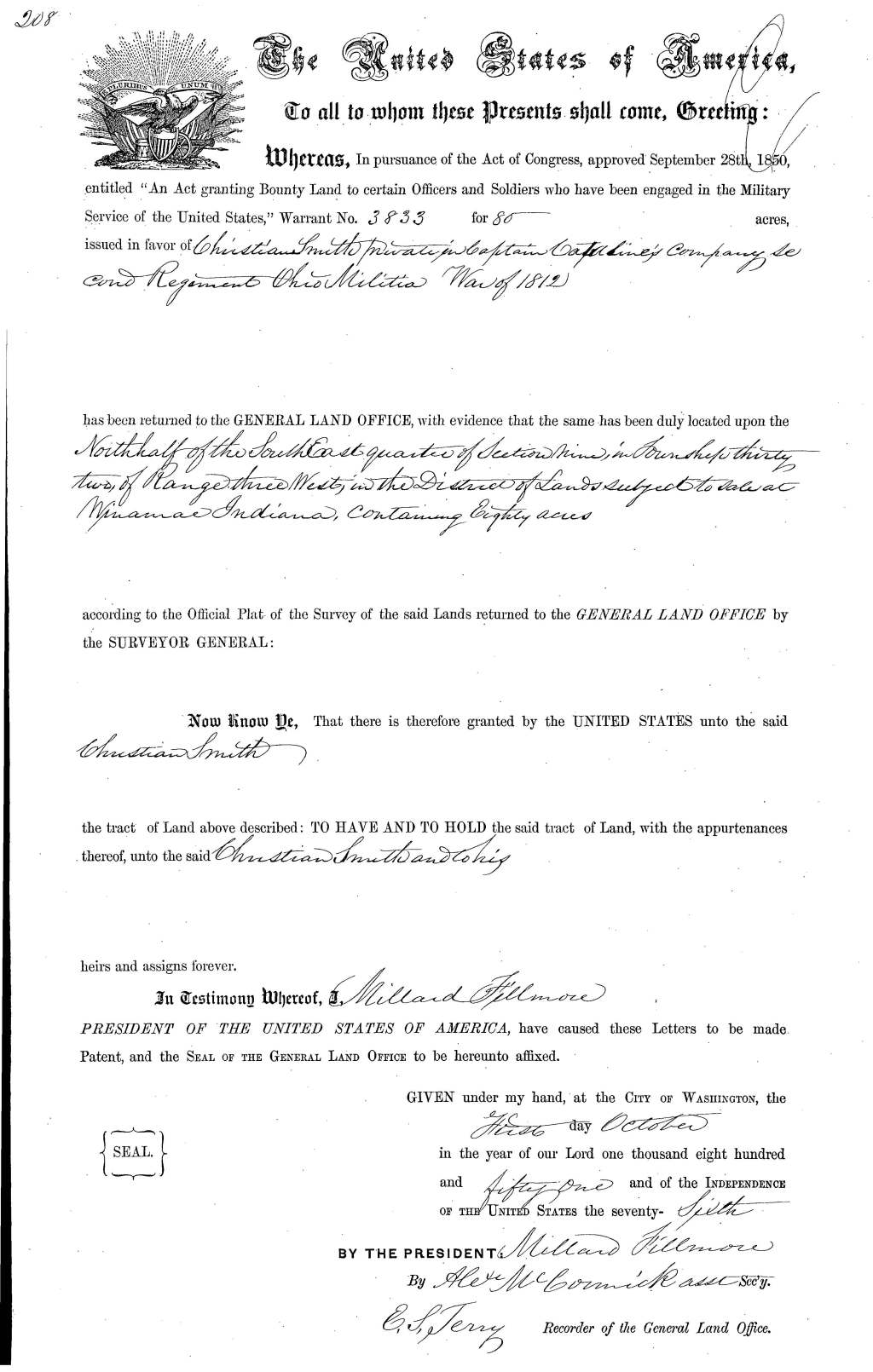 Chancery Record: Christian Smith military warrant 1 Oct 1851