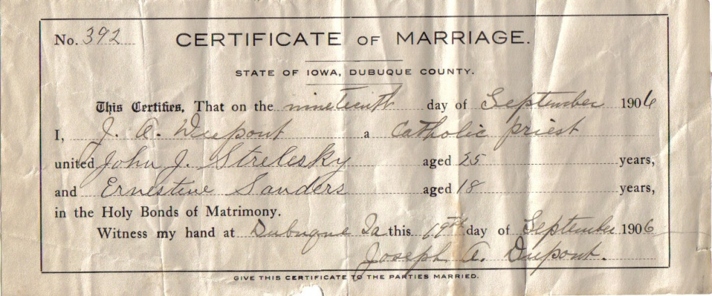 Marriage: John Joseph Strelesky and Ernestine Bertha Sanders