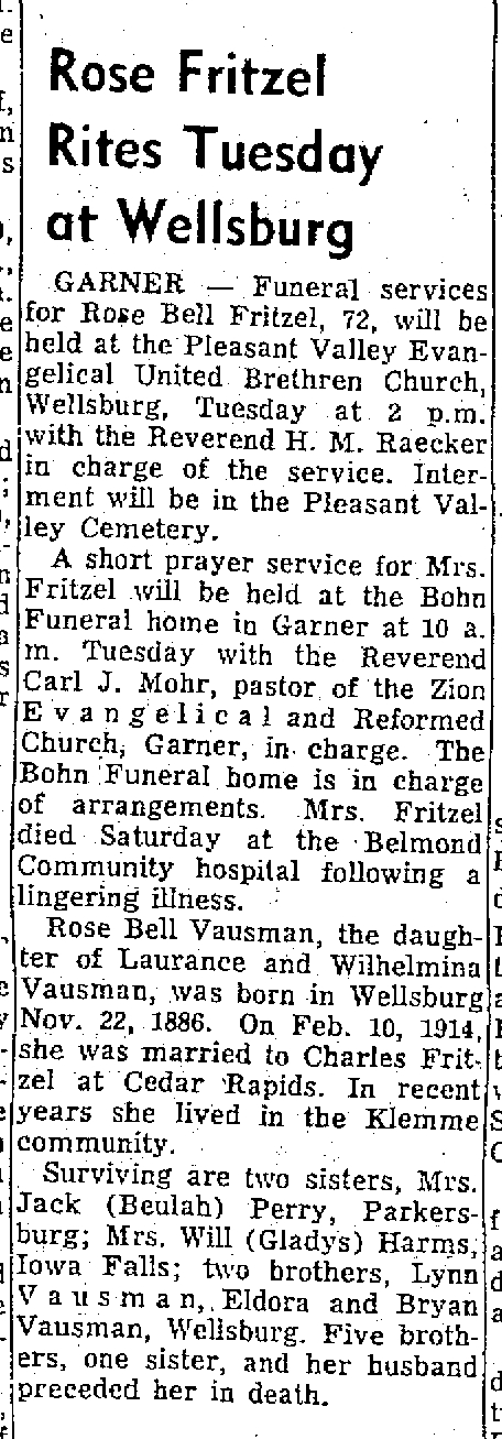 Obituary: Rosa Bell (Bausman) Fritzel