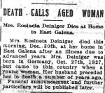 Death Notice: Rosina (Heffner) Deininger