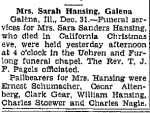 Obituary: Sarah (Sanders) Hansing