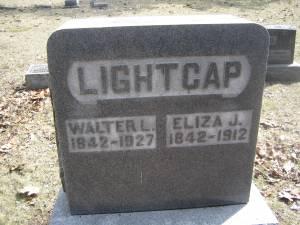 Headstone: Walter and Eliza Jane (Stewart) Lightcap