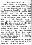 Marriage: Marian Bohnsack and Stanley Davis