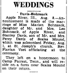 Wedding Announcemnt: Marian Bohnsack and Stanley Davis
