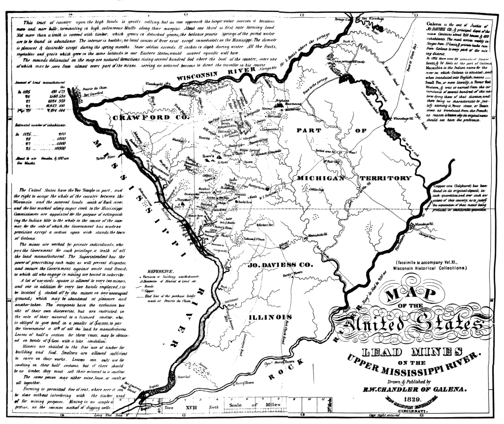 1829 U.S. Map of Lead Mines on the Upper Mississippi River