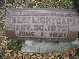Headstone: Albert Lightcap; photo courtesy Andy Gappa