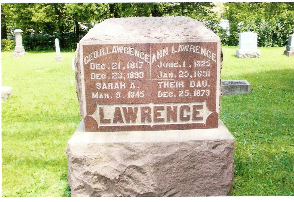 Headstone: George, Angeline and their daughter Sarah Lawrence. Photo courtesy of Carol Harner.