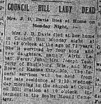 Death Announcement: Margaret Jane (Hicks) Davis