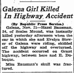 Hazel Bausman Killed in Car Accident