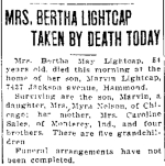 Death: Bertha (Sales) Lightcap