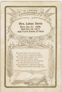 Funeral Card: Gladys (Ray) Davis