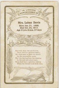 Funeral Card: Gladys (Ray) Davis