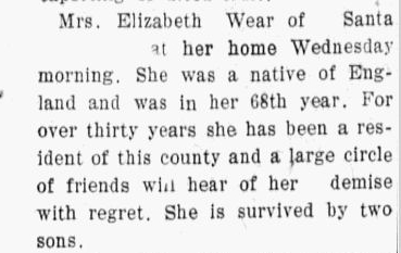 Death: Elizabeth (Davis) Wear