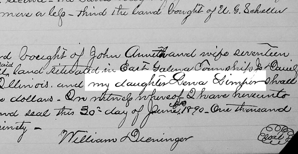 Lena Limper identified as William Sr's daughter, from Last Will and Testament of William Deininger, 06 Oct 1891