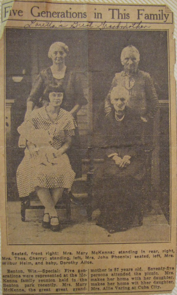Five Generations of Loretta Cherry's family