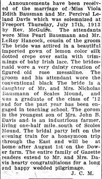 Marriage Announcement: Viola Bausman and Percy Davis