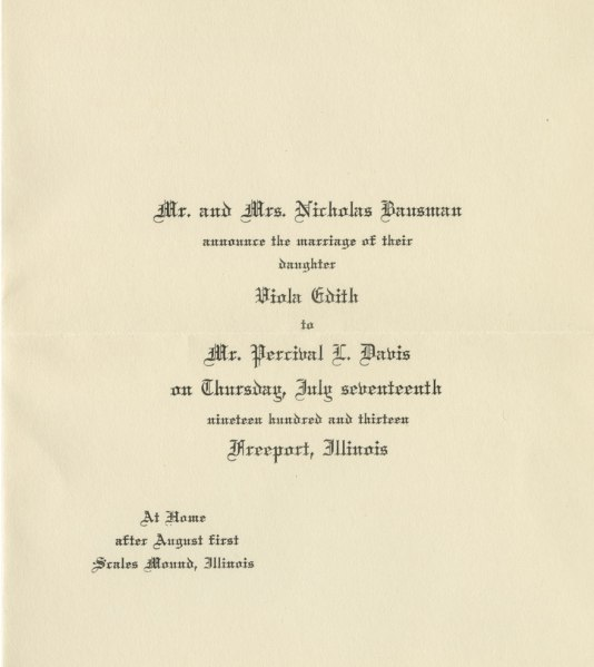 Marriage announcement for Viola Bausman and Percy Davis, 1913