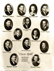 Class of 1933 Scales Mound High School My grandmother, Marian Bohnsack Davis, is to the upper right of the superintendent.