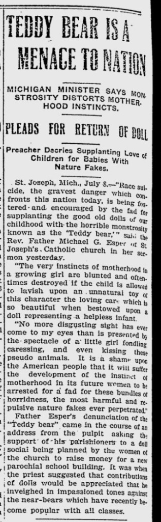article: Teddy Bear is a Menace to Nation